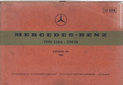MERCEDES BENZ W111 220b 220Sb SALOON ORIG.1965 FACTORY PICTORIAL PARTS CATALOGUE