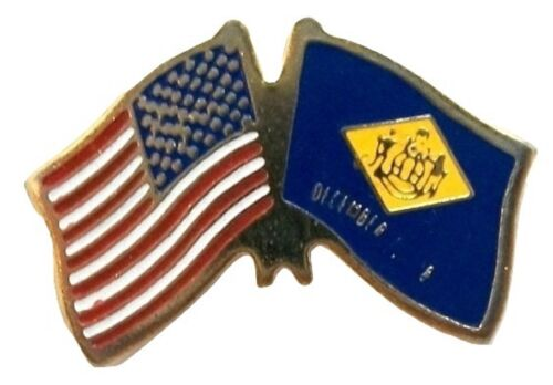 United States Flag and Delaware State Flag Hat Tac or Lapel Pin