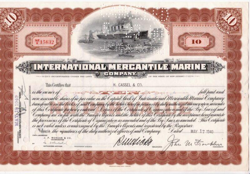 International Mercantile Marine Company. Stock Certificate. & Titanic History