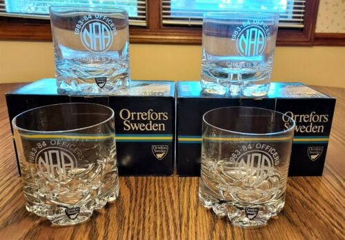 FOUR Orrefors Sweden Double Old Fashioned Glasses, Erik 2424/41 With NAA Logo