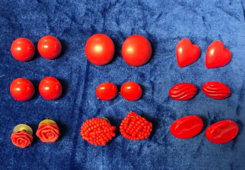 Mixed Lot of Red Stud Earrings 9 Pairs Fashion Jewelry