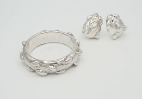 Vintage Frederic Jean Duclos sterling silver electroform bracelet earrings set