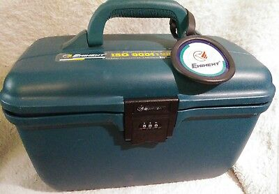 EMINENT TRAVEL TRAIN CASE LUGGAGE GREEN TEAL COSMETIC TOTE HARD LOCKING VINTAGE
