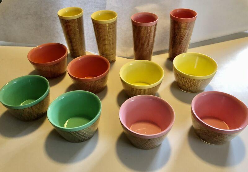 Lot Of 12 Vintage Raffiaware Cereal Bowls Tumblers MCM