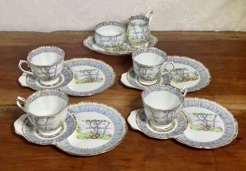 Set Of Royal Albert Bone China Silver Birch Dessert Plates Cups Cream And Sugar