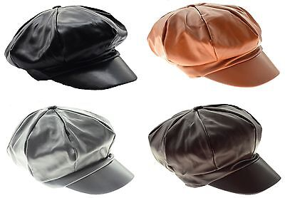 Leather Look Cabbie Newsboy Gatsby Cap Mens Hat Golf Driving Flat Applejack