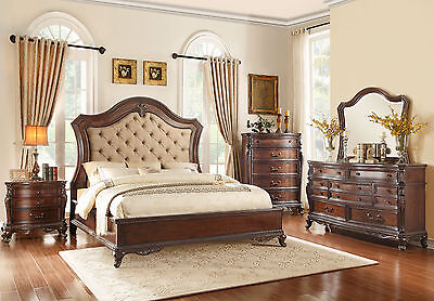 Old World Cherry Brown Finish Bedroom Furniture - 5pc Set w/ Queen Panel Bed A5M