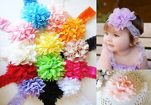 Baby-Girls-Large-Ruffle-Flower-Lace-Hairband-Soft-Elastic-Headband-Hair-Band