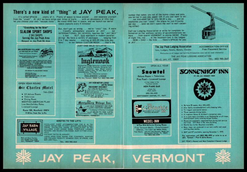 1970 Jay Peak Vermont Snow Ski Resort Inns Motels Lodges Shops 2-Page Print Ad