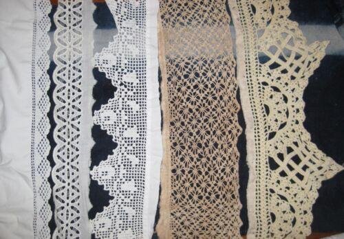 """17 Pieces, > 550"""" Edwardian ANTIQUE LACE Ecru & White  Victorian, Trim"""