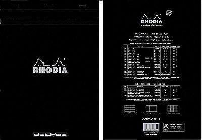DotPad Block Rhodia, DIN A4 21x29,7cm, 80 Blatt, Dot Grid Schwarz No. 18