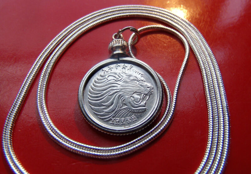 "Roaring African Lion Bezel Pendant on a 30"" 925 Sterling Silver Snake Chain"