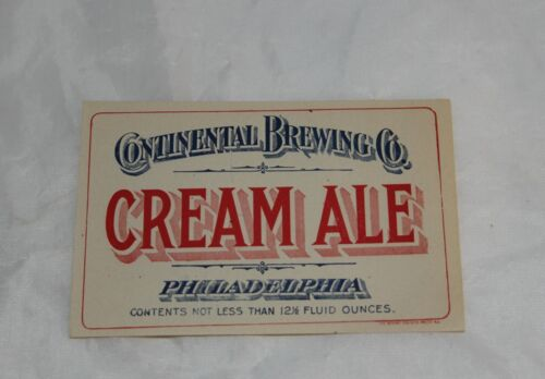 Vintage CONTINENTAL BREWING COMPANY, PA Cream Ale Label