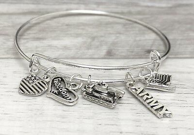 Army Military Freedom Flag & Tank Silver charms Expandable Bangle Bracelet