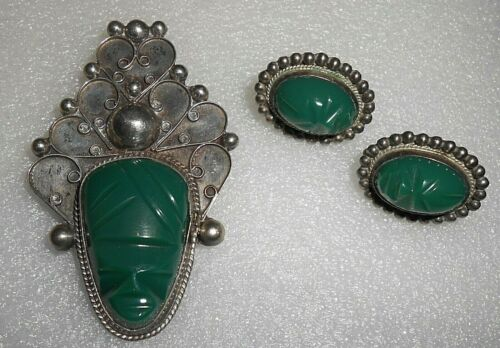 Vintage Silver Mexican Carved Green Stone Face Pin w Earrings Set