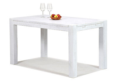 Chic Shabby Stil Weiß Holz (Esstisch Shabby Chic Stil Weiss Rio Bonito 140x80 Pinie Massivholz White )