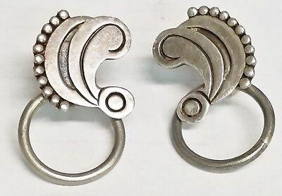 VTG Carmen Beckmann Sterling Mexico Silver Inlay Screw back Earrings 16.3 gr