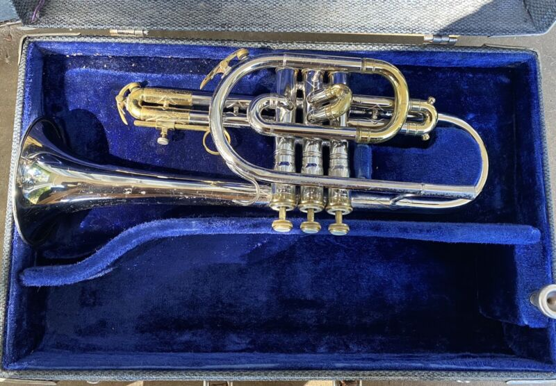 1969 H. N. White King Tempo Cornet Brass and Nickel Lacquer Finish