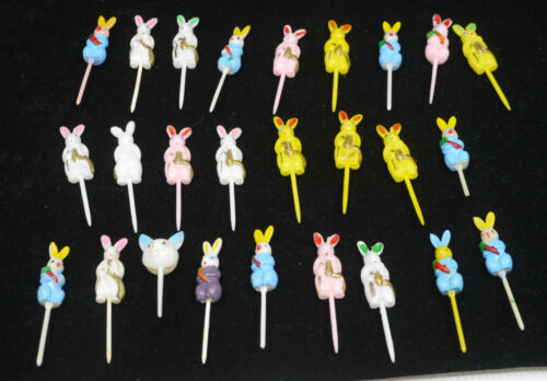26 VINTAGE BUNNY RABBIT CUPCAKE TOPPERS, PICKS, EASTER, CHILD PARTY DECORATION