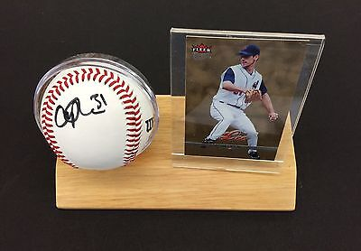 CLIFF LEE ~ Autographed Signed Wilson White Baseball with Wood Base Card Display ()