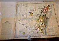 Australia Mappa A Colori 1876 South Wales Mineral Map Sydney University -  - ebay.it