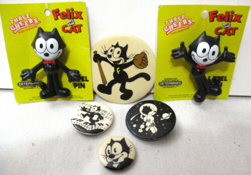 Lot of Felix the Cat Pin Back Buttons & Lapel Pin Figures