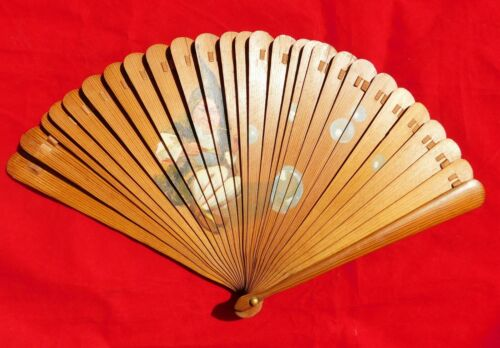 Antique hand painted  bamboo wooden Hand Fan
