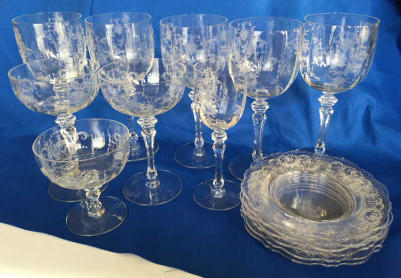Antique Etched Crystal Wine Sherry Sherbet Water Glasses Stemware Small Plates