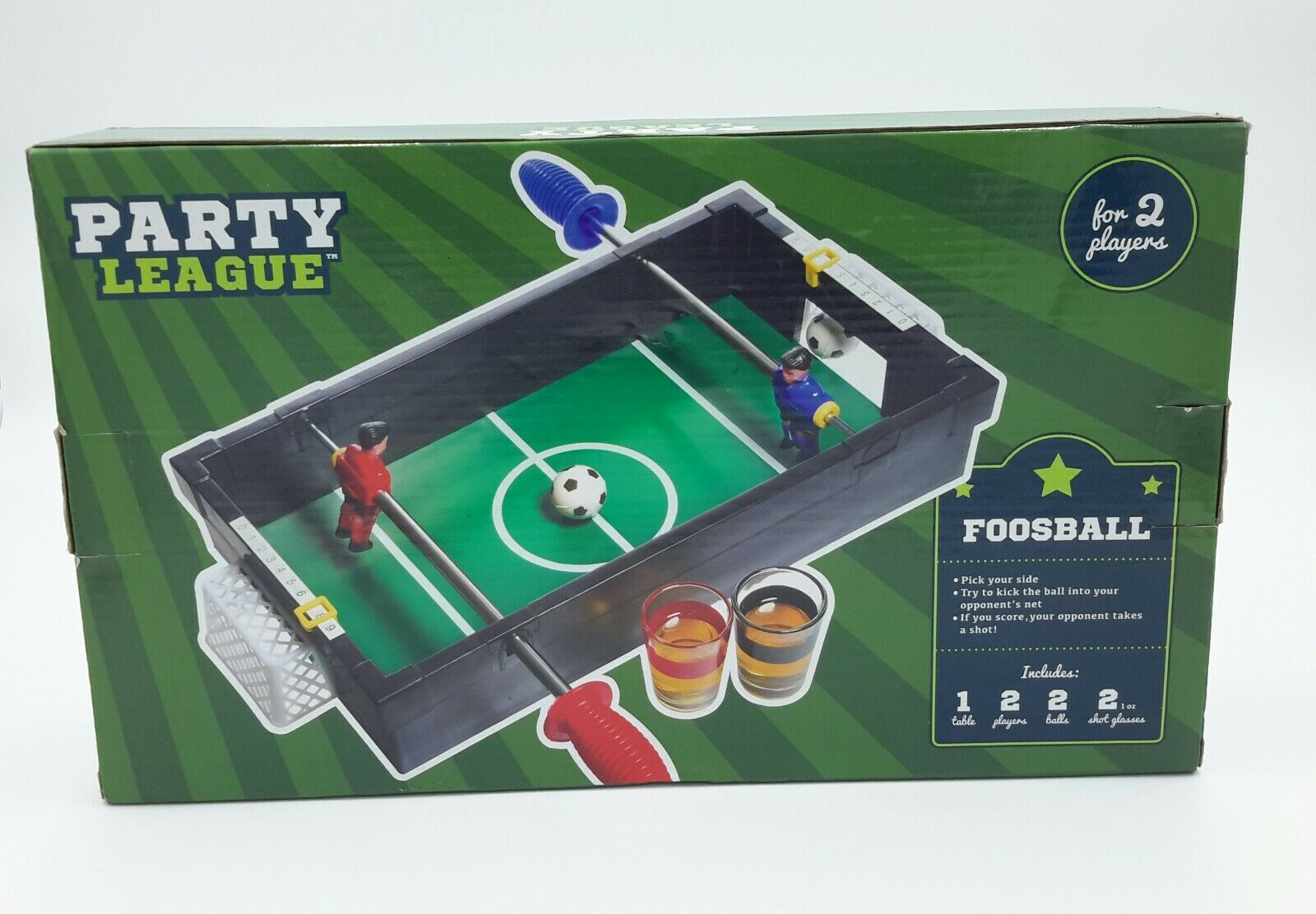 Party League Foosball Soccer Table Top Game with 2 Shot Glas