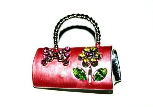 Vintage Crystal Filled Enamel Purse Brooch By RUCCINI JL