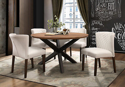 LADSON Modern Walnut Brown 5 pieces Furniture Dining Room Round Table Chairs Set