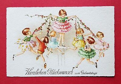 Künstler Glückwunsch AK GEBURTSTAG 1929 tanzende Kinder  ( 32693