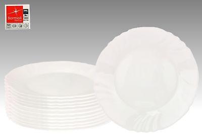 12er Set Essteller flach Ebro 25cm Hartglas Speiseteller weiß Geschirr Teller 12 Teller Set