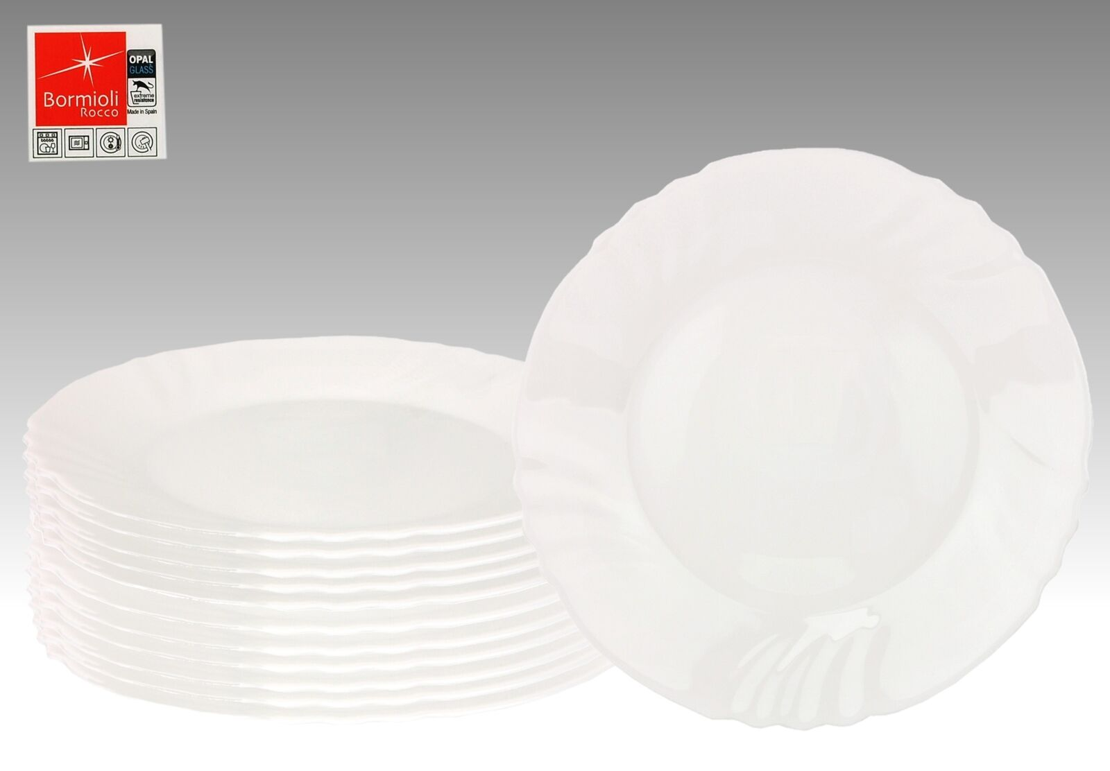 12er Set Essteller flach Ebro 25cm Hartglas Speiseteller weiß Geschirr Teller