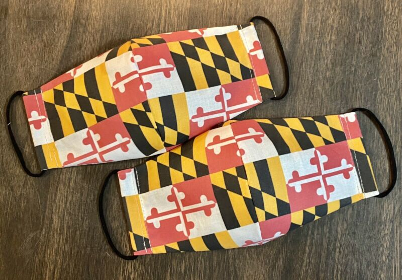 Adult Maryland MD Flag Face Mask Cover Cotton New/homemade Each