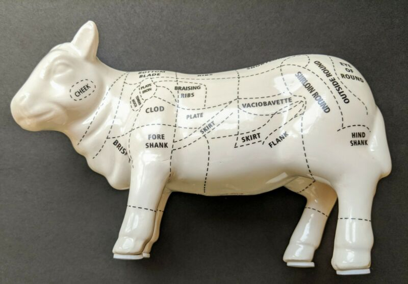 Ceramic cow figurine cuts of meat - beef diagram