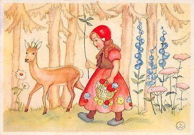 AK Kind Mädchen Rotkäpfchen mit Reh sign. LW. Postkarte