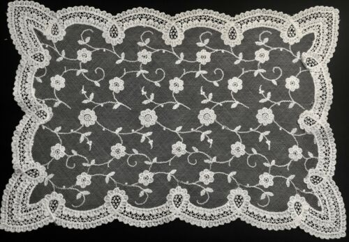 "16"" x 11 1/4"" Gorgeous White Chemical Lace Doily Centerpiece Floral Design"