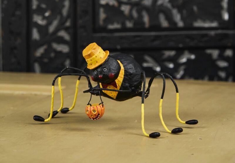 Lori Mitchell™ - Willie Web Weaver - Halloween Spider w Pumpkin Figurine 11100