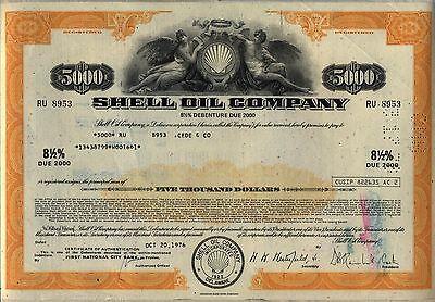$5,000 Shell Oil Company Bond Stock Certificate Gas Royal Dutch