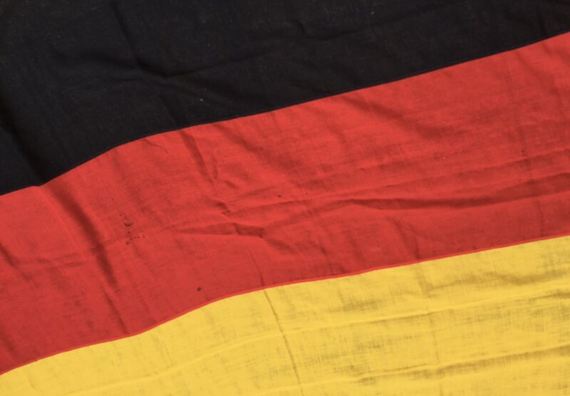 Large 256cm Vintage German Stitched Panel Flag Germany Tricolour Deutschland