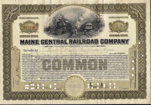 STOCK CERTIFICATE Maine Central Railroad Comp. 1920s olive