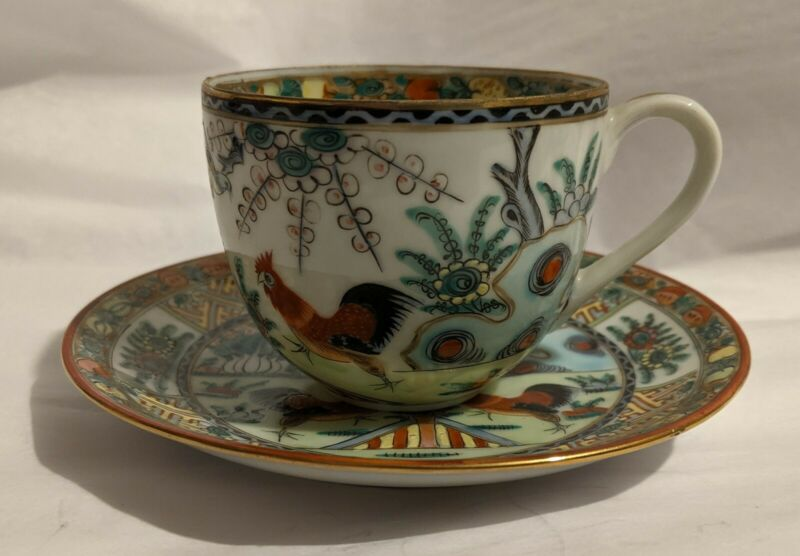 VTG CHINESE TEA CUP & SAUCER - HAND PAINTED Famille ROOSTER Cockerel - HONG KONG