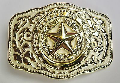 NEW WESTERN STAR STATE OF TEXAS WHITE AND GOLD RODEO FLAG COWBOY BELT BUCKLE