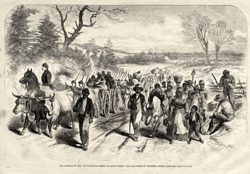 Civil War FREED SLAVES NEGROES MARCHING INTO UNION LINES NEWBERN NC
