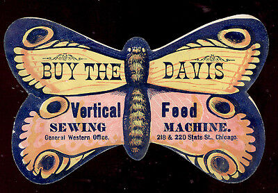 1880's  DIE CUT BUTTERFLY TRADE CARD,  DAVIS VERTICAL FEED SEWING MACHINE   Z301 - Butterfly Trade