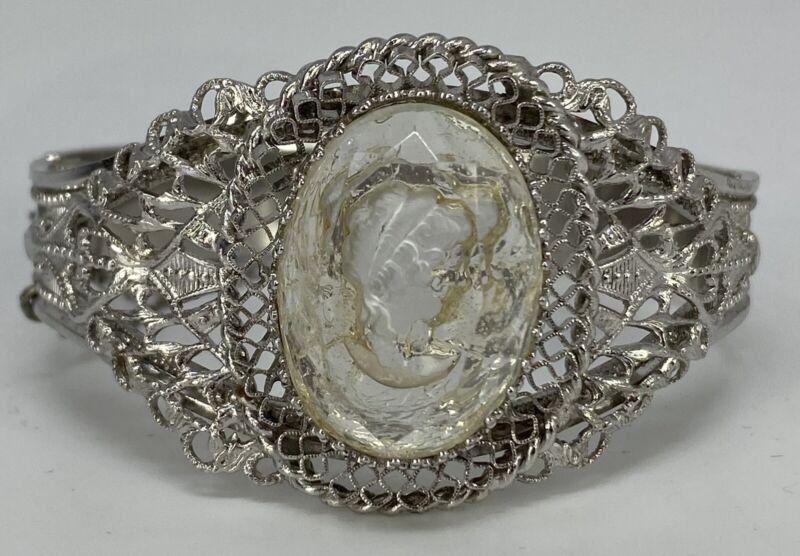 Whiting & Davis Bangle Bracelet Silver Tone Intaglio Filigree Cameo Hinged Vtg