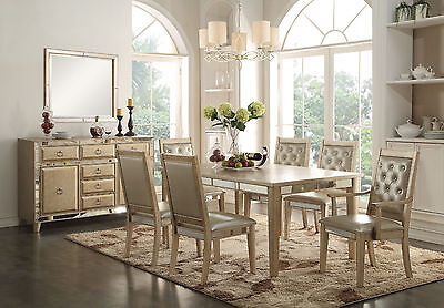 Acme Voeville 7 Piece Mirrored Dining Set Furniture 61003
