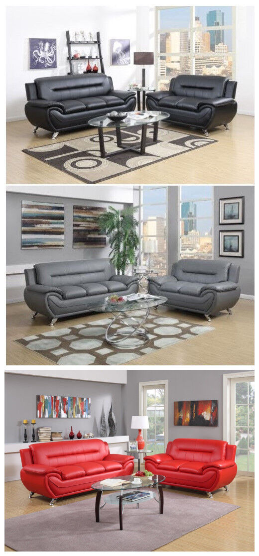 The Room Style Contemporary Bonded Leather Sofa & Loveseat S