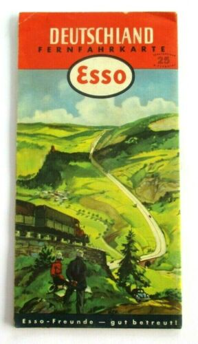 Original 1952 ESSO (GERMANY) DEUTSCHLAND ROAD MAP ~ Gas, Gasoline, Oil, Exxon